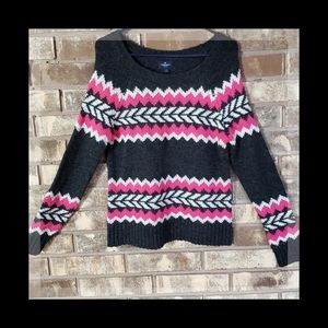 American Eagle wool sweater gray and pink nordic